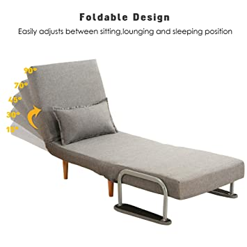 windaze Folding Sofa Bed Portable Sleeper Chaise Lounges with Detachable Armrest and Memory Foam Mattress,Leisure Recliner Lounge Couch for ...