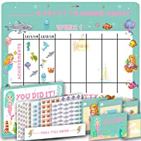 Potty Training Chart for Toddlers - Cute Mermaid and Sea Theme - 4 Week Reward Chart for Girls - Sticker Chart - Diploma Certificate, Instruction Booklet and More - Potty Training Sticker Chart School