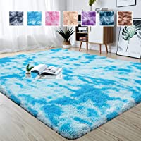 junovo Modern Abstract Shaggy Area Rugs Fluffy Soft Bedroom Rug for Kids Nursery Girls Boys Ultra Comfy Shag Fur Carpets Nursery Room Living Room Furry Decor Rugs, 4 ft x 6 ft, Blue