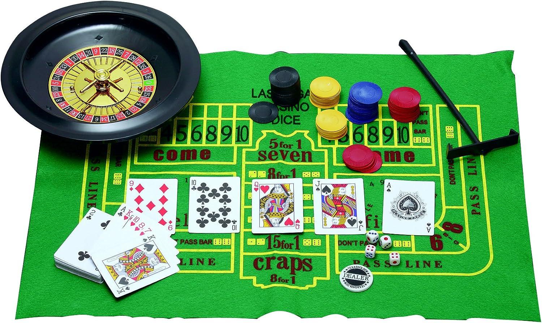 5 en 1 Juegos de Casino de ruleta, Poker, Black Jack, dados, ha Chips, alfombrillas, dados, tarjetas,: Amazon.es: Hogar