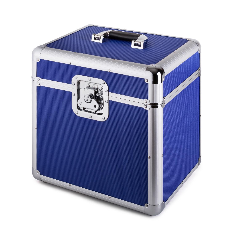 azul capacidad de 70 LPs, cierre de mariposa, bordes reforzados, asa ergon/ómico, peso vac/ío de 2,4 kg Resident DJ Zeitkapsel caja de aluminio para vinilos