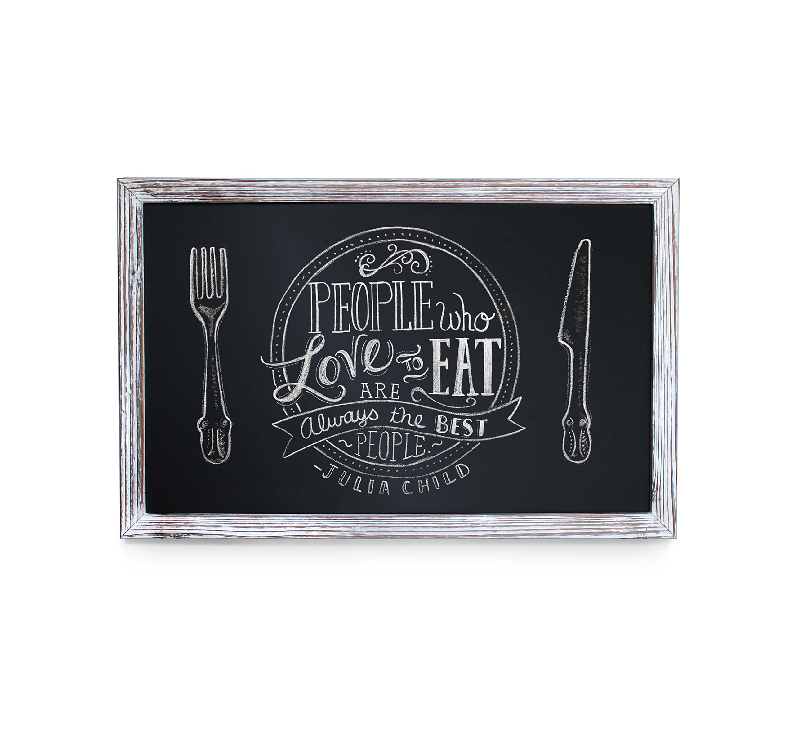 HBCY Creations Rustic Whitewashed Magnetic Wall Chalkboard, Small Size 11'' x 17'', Framed Decorative Chalkboard - Great for Kitchen Decor, Weddings, Restaurant Menus and More! … (11'' x 17'')