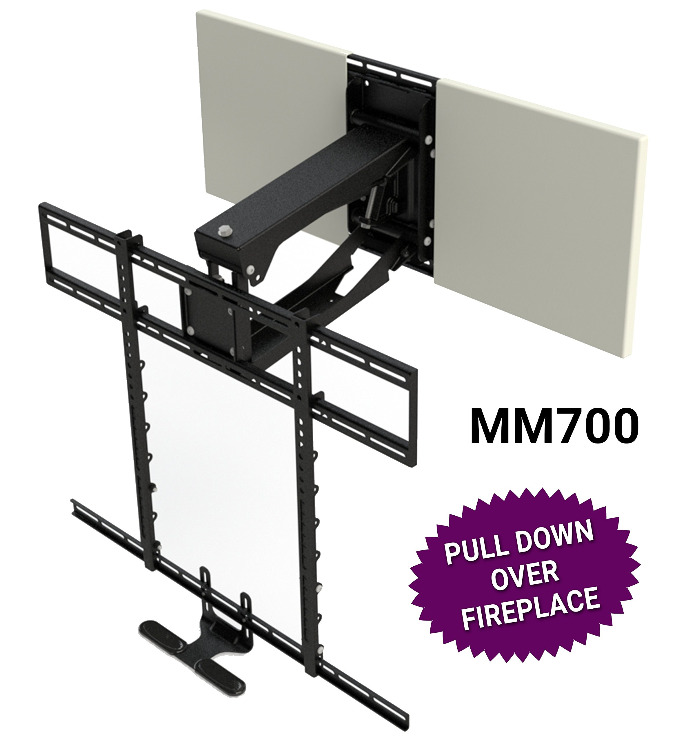 MantelMount MM700 Pro Series Above Fireplace Pull Down TV Mount for 45''-90'' TVs Over Mantel