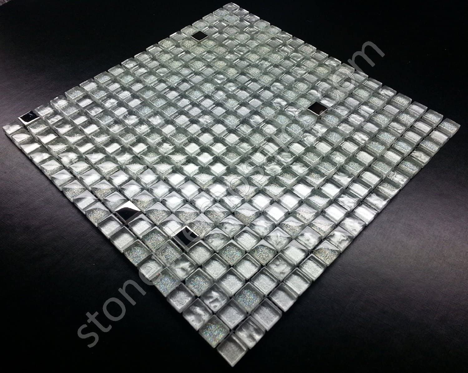 Vogue Premium Quality Silver Glass Stainless Steel Square Mosaic Tile For Backsplash And Bathroom Wall Designed In Italy 12x12