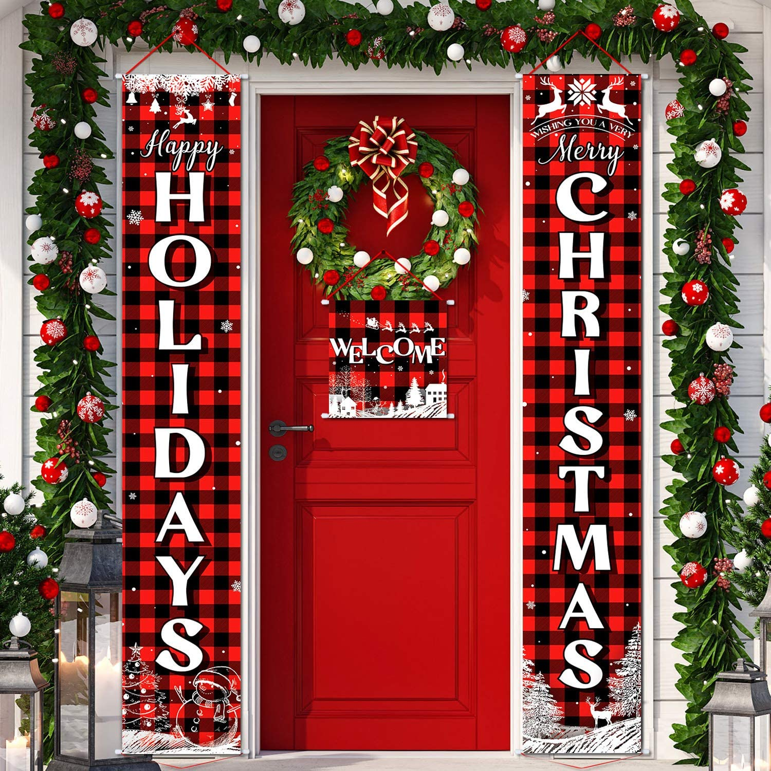 3 Pieces Christmas Plaid Porch Sign Merry Christmas Banner Happy Holidays Banner Welcome Banner Front Door Hanging Sign for Christmas Home Wall Indoor Outdoor Decoration