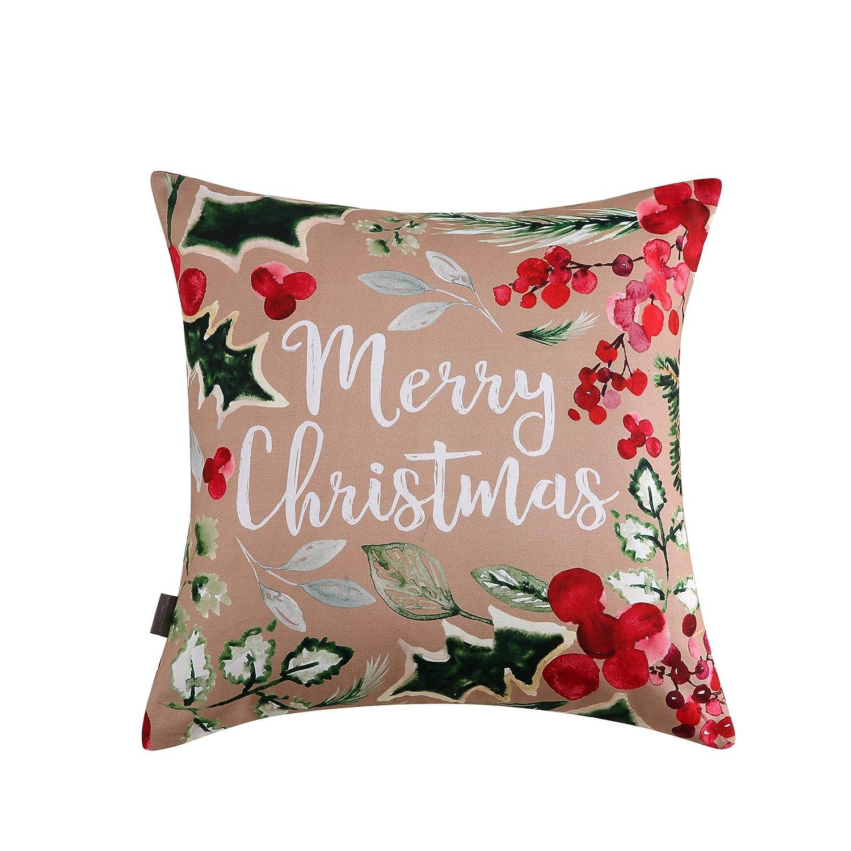 Sara B Merry Christmas Square Decorative Pillow 20 x 20 Multicolor