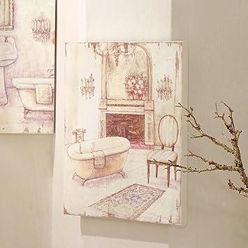 Tableau Peinture Toile , Canvas , Tableau Salle De Bain Vintage Shabby Chic    Salle De