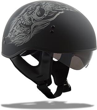 GMAX GM65 Naked Ghost//Rip Adult Harley Touring Motorcycle Helmet Flat Black//Silver//Medium