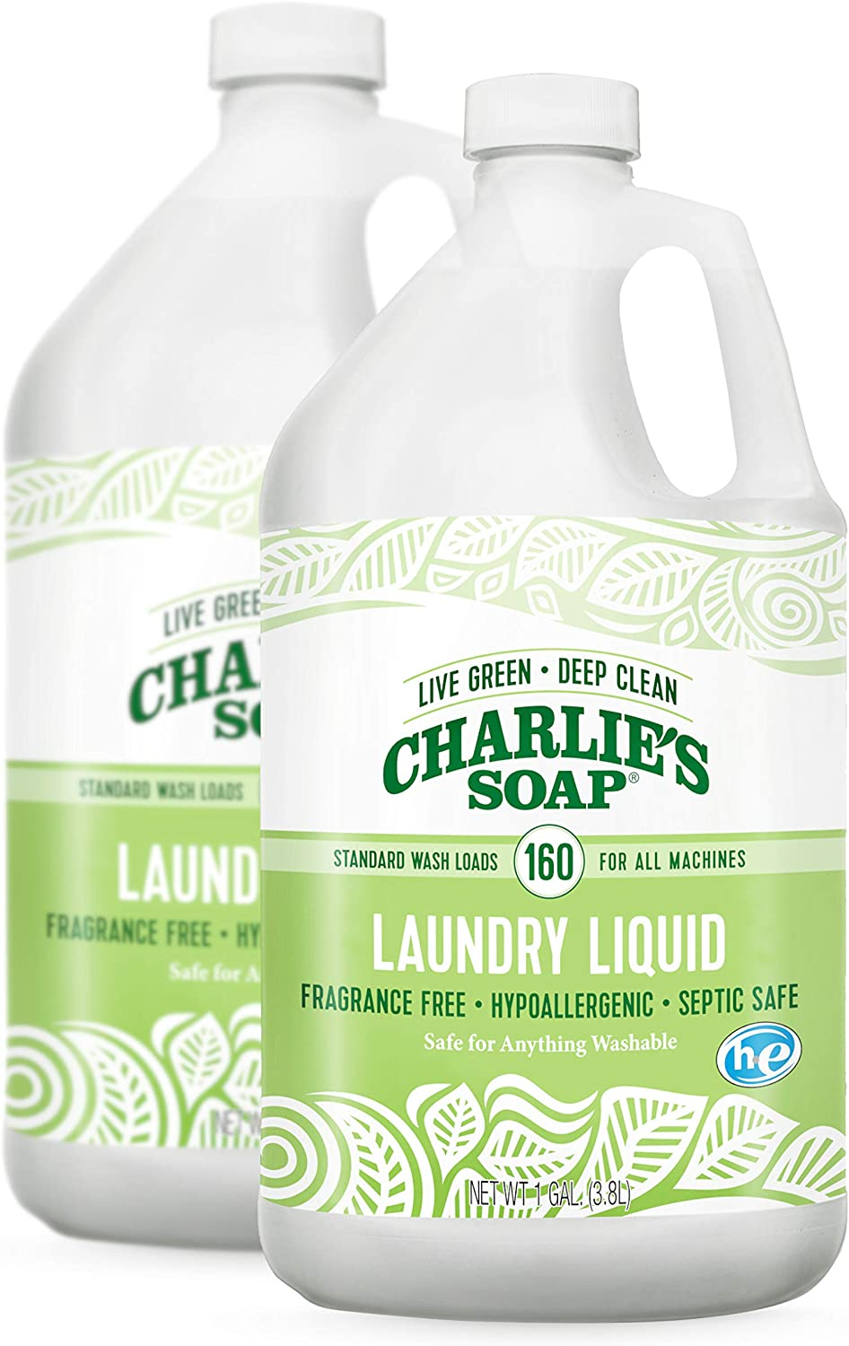 Charlie's Soap Laundry Liquid (160 Loads, 2 Pack) Natural Deep Cleaning Hypoallergenic Laundry Detergent – Safe, Effective and Non-Toxic