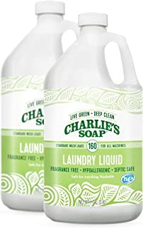 product image for Charlie's Soap Laundry Liquid (160 Loads, 2 Pack) Natural Deep Cleaning Hypoallergenic Laundry Detergent – Safe, Effective and Non-Toxic