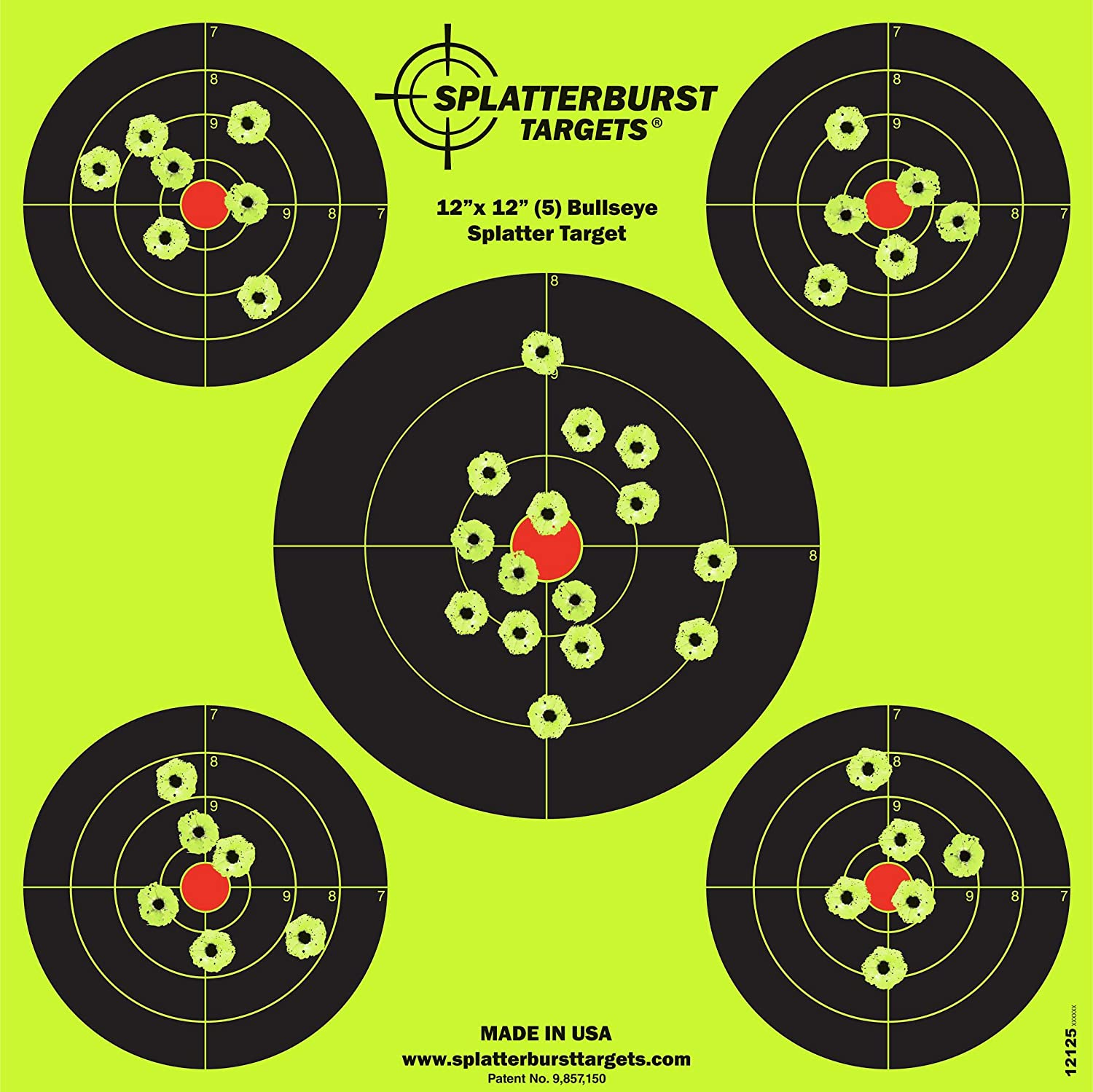 Splatterburst Targets - 12 x12 inch (5) Bullseye Reactive Shooting Target - Shots Burst Bright Fluorescent Yellow Upon Impact - Gun - Rifle - Pistol - Airsoft - BB Gun - Air Rifle : Sports & Outdoors