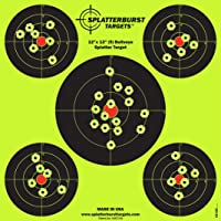 "25 Pack - 12""x12"" (5) Bullseye Splatter Target - Instantly See Your Shots Burst Bright Florescent Yellow Upon Impact! by Splatterburst Targets LLC"