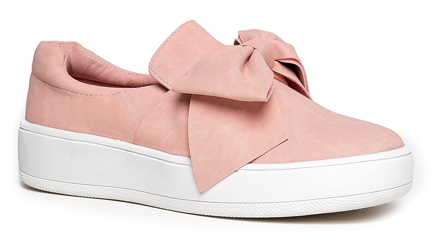 J. Adams Bow Platform Slip on – Trendy Flatform Shoes - Comfortable Closed Toe Sneakers – Wally B071DTTLJ7 8 B(M) US|Bow Pink Nbpu