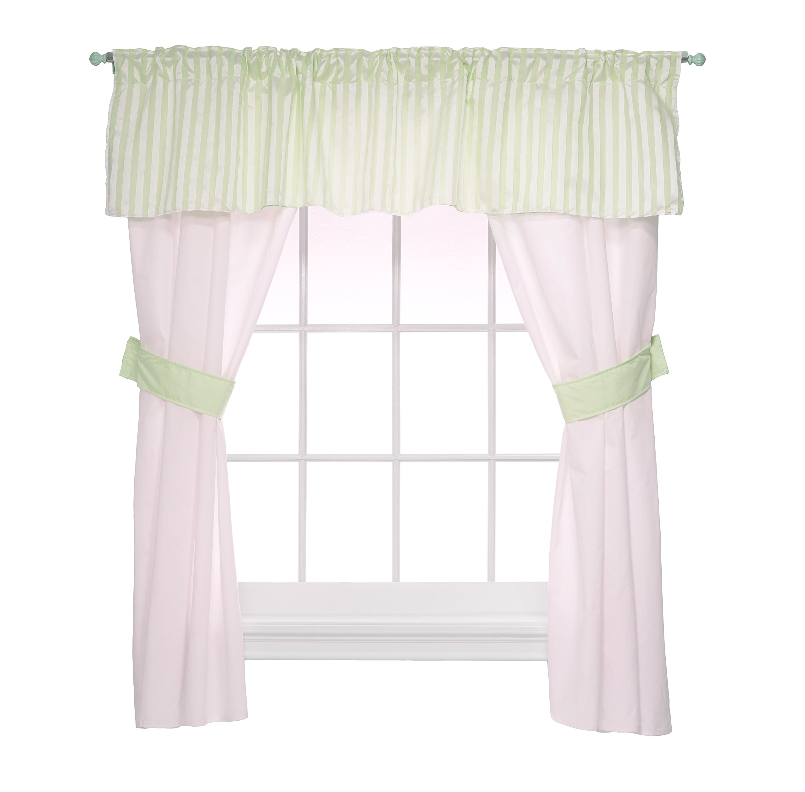 Baby Doll Candyland 5 Piece Window Valance and Curtain Set, Mint by Baby Doll