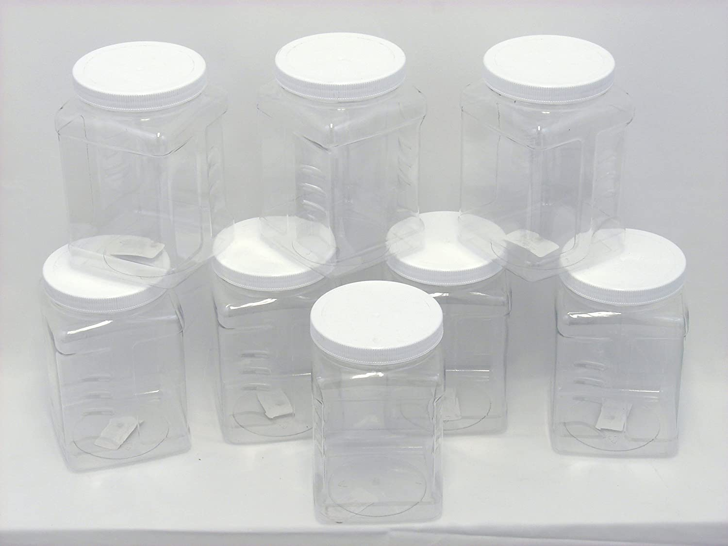 8 Pack of 64 oz PET Containers, Clear Plastic Kitchen Food Storage with Grip