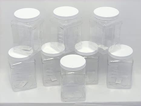 8 Pack of 64 oz PETE Containers, Clear Plastic Kitchen Food Storage with  Grip