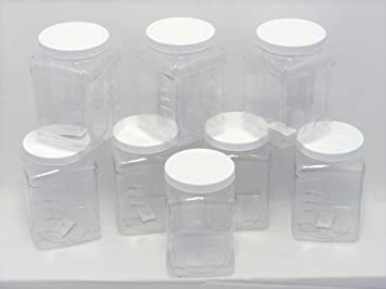 Amazon.com: 8 Pack of 64oz PETE Containers, Clear Plastic Kitchen ...