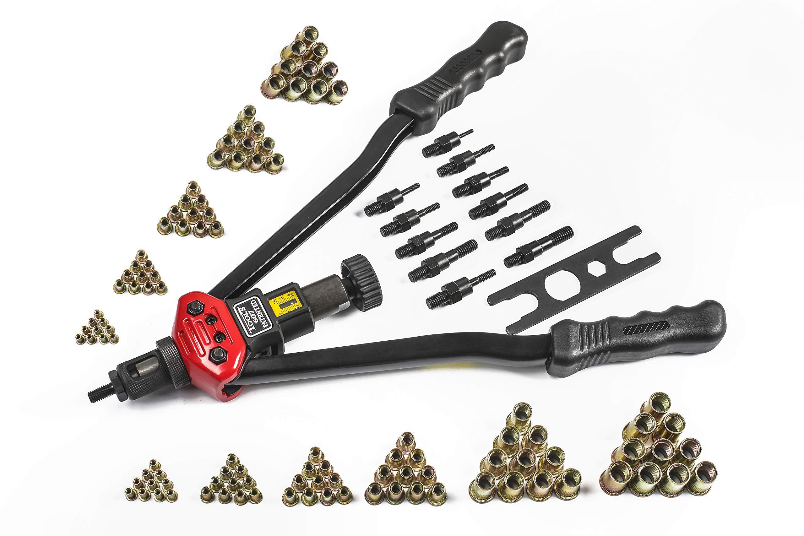 RZX 17'' RIVET NUT TOOL Hand Blind Riveter,RIVNUT Riveting Tools with Nut Setting System M3 M4 M5,m6,m8,m10 M12, 10-24, 1/4-20, 5/16-18,3/8-16,totally 11 mandrels+110PCS Rivets Nuts (17'' RIVET GUN) by RZX (Image #1)