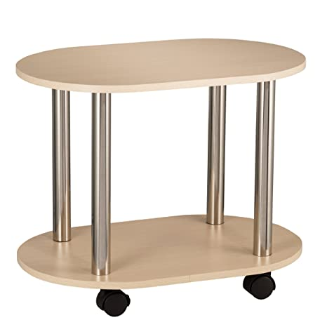 amazon com fineboard ovel coffee table with casters with 2 shelves