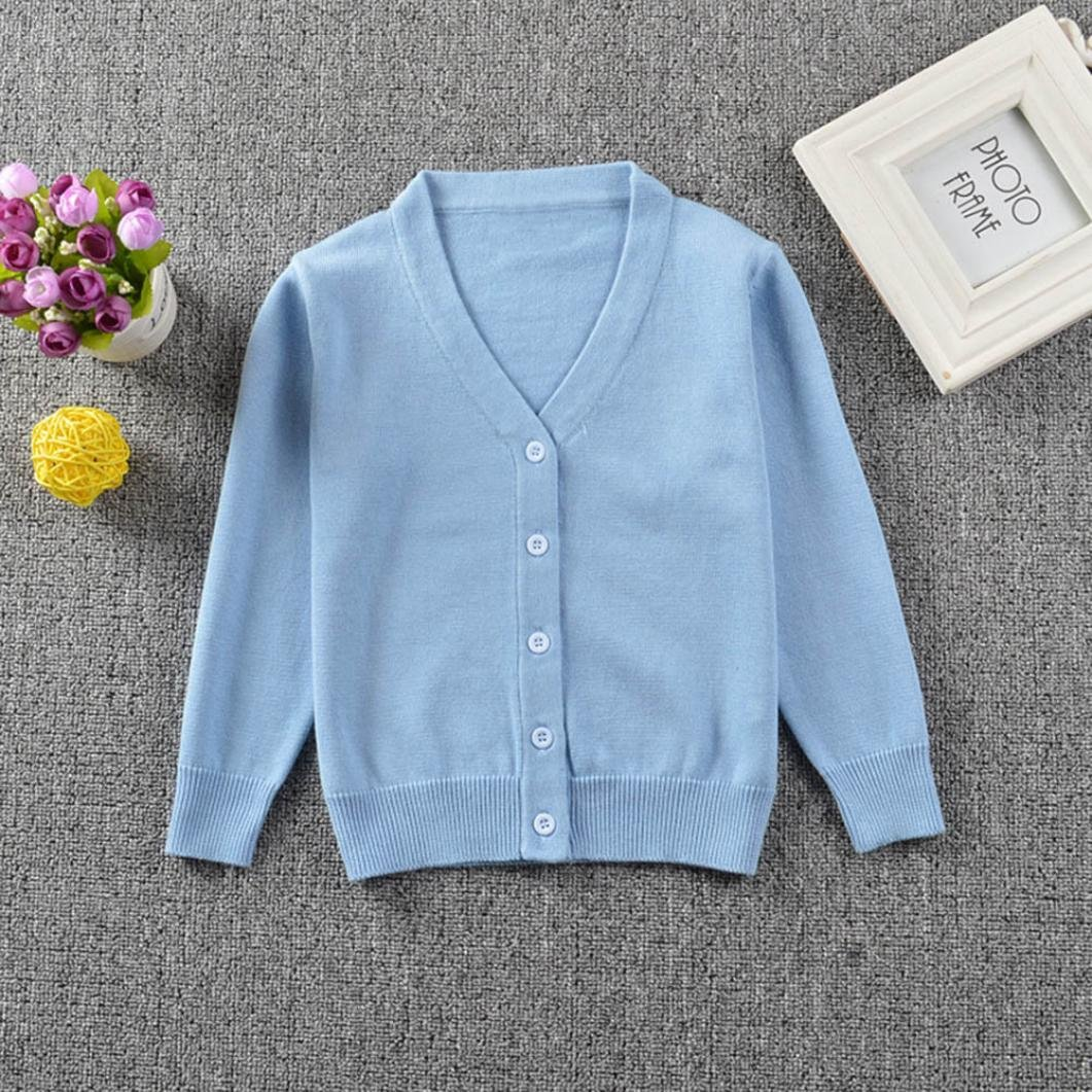 24M, Gray Hot Sale!!Woaills 6M-3T Toddler Kid Boys Girls Knitted Colorful Solid Sweater Cardigan Coat Tops Clothes