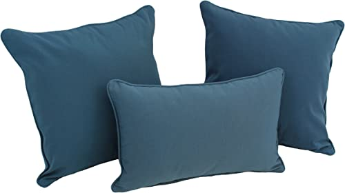 Blazing Needles 9817-S3-CD-TW-ML Double-Corded Solid Twill Throw Pillows with Inserts Set of 3 , Mojito Lime