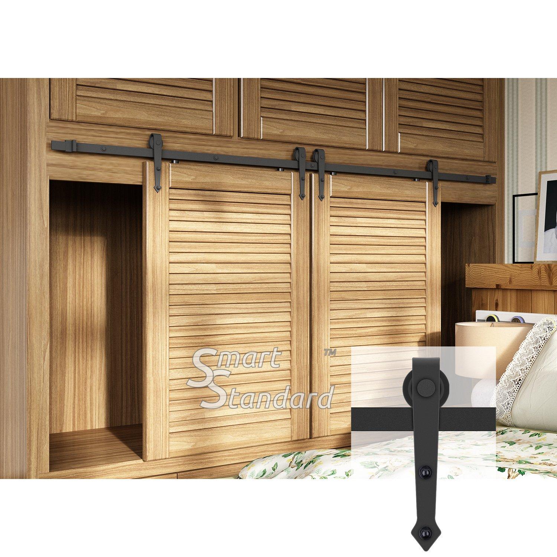 7ft Double Door Cabinet Barn Door Hardware Kit- Mini Sliding Door Hardware-for Cabinet TV Stand-Simple and Easy to Install-Fit 21'' Wide Door Panel (Cabinet NOT Included) (Mini Arrow Shape Hangers)