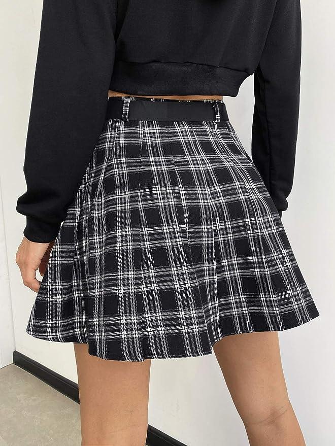 Milumia Women Preppy Plaid High Waisted Buckle Belt Pockets Tartan Pleated Flare Skater Mini Skirts