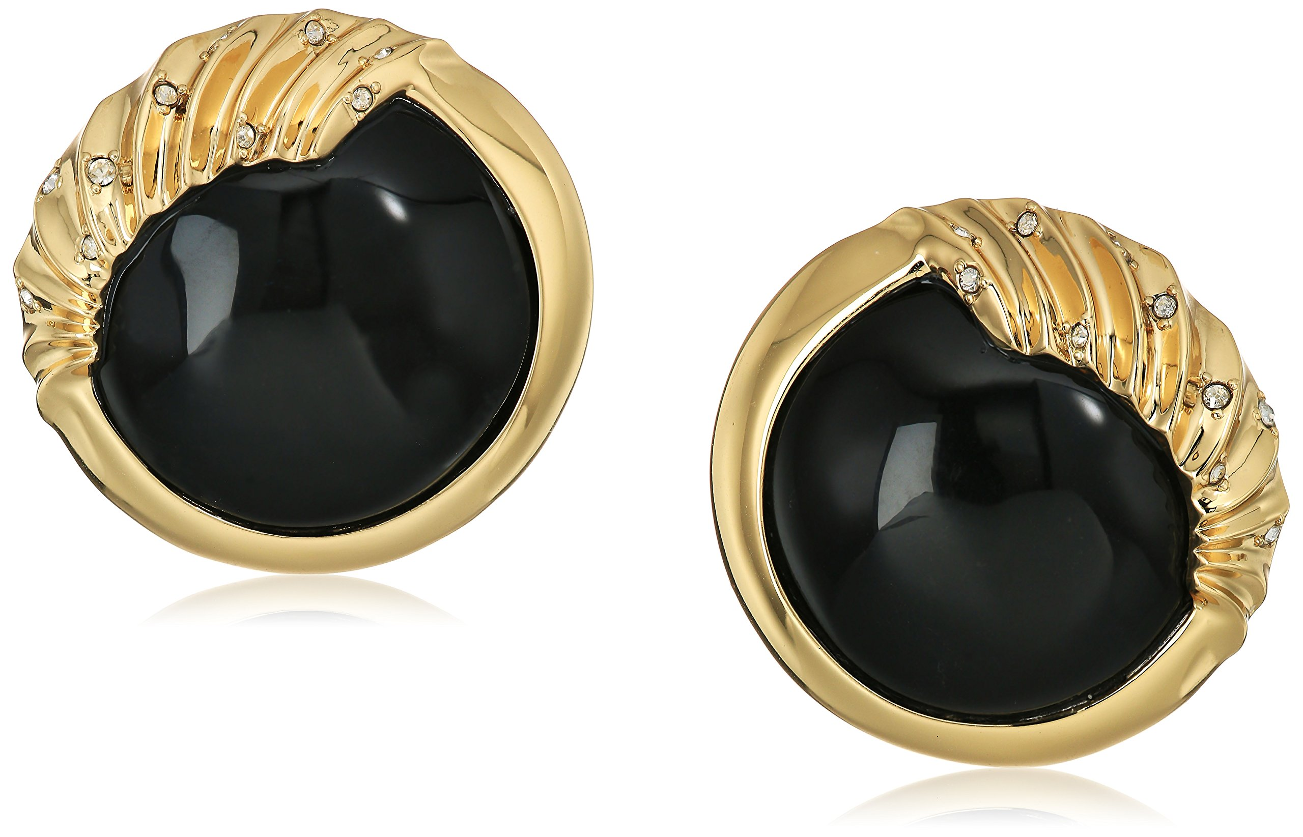 Alexis Bittar Crystal Studded Sculptural Sphere Button Black Clip-On Earrings