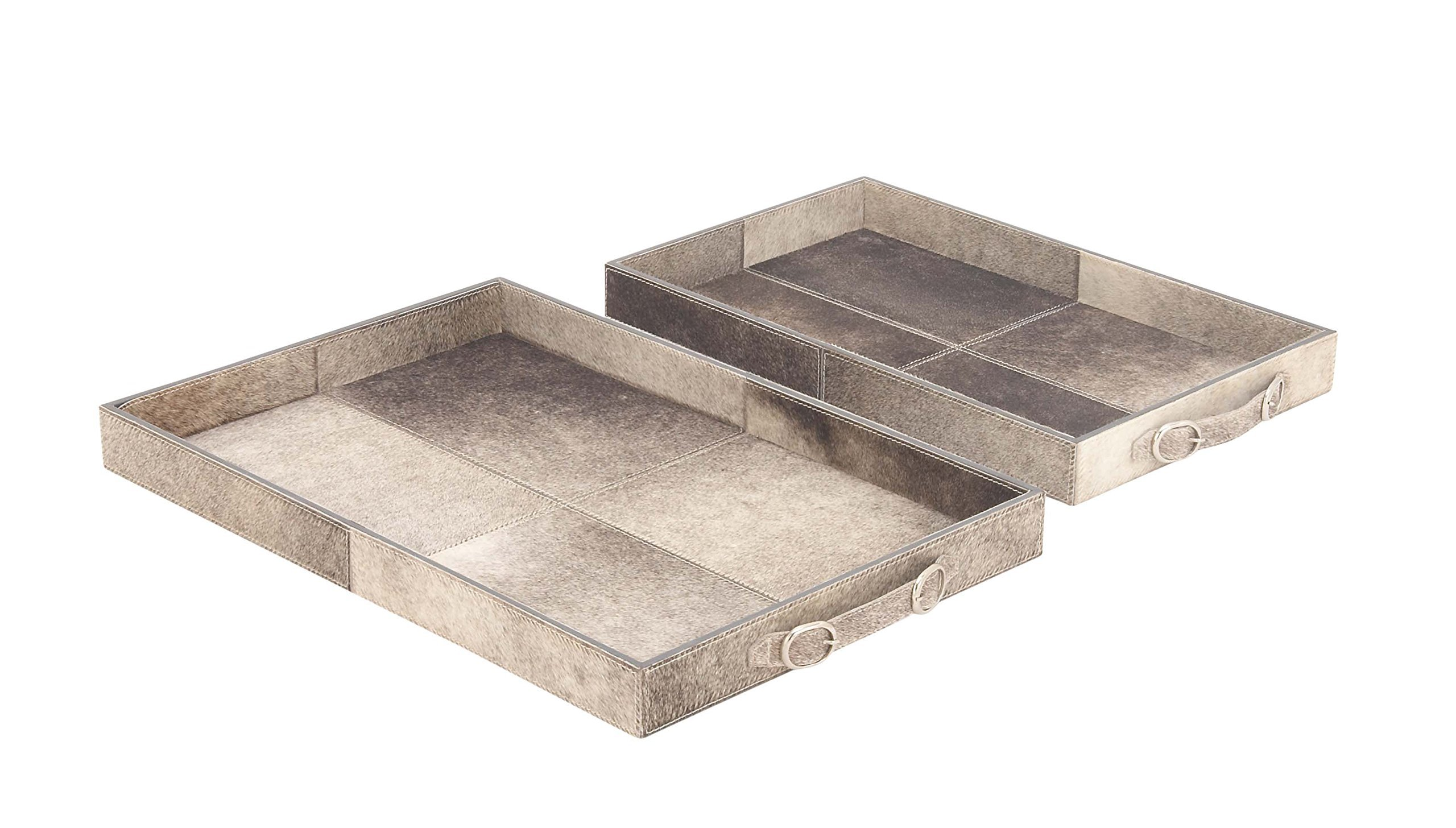 Deco 79 95043 Wood and Leather Trays (Set of 2), Gray/Black by Deco 79 (Image #1)