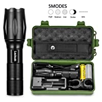 Ledeak ZEM T6 Upgrade L2 CREE 1200 Lumens LED Torch,5 Modes Zoomable Waterproof Tactical USB Charger,18650 Rechargeable Battery,Cycling Handlebar Mount, Flashlight Holster, 10 W, 13.4 x 2.8 x 3.5 cm