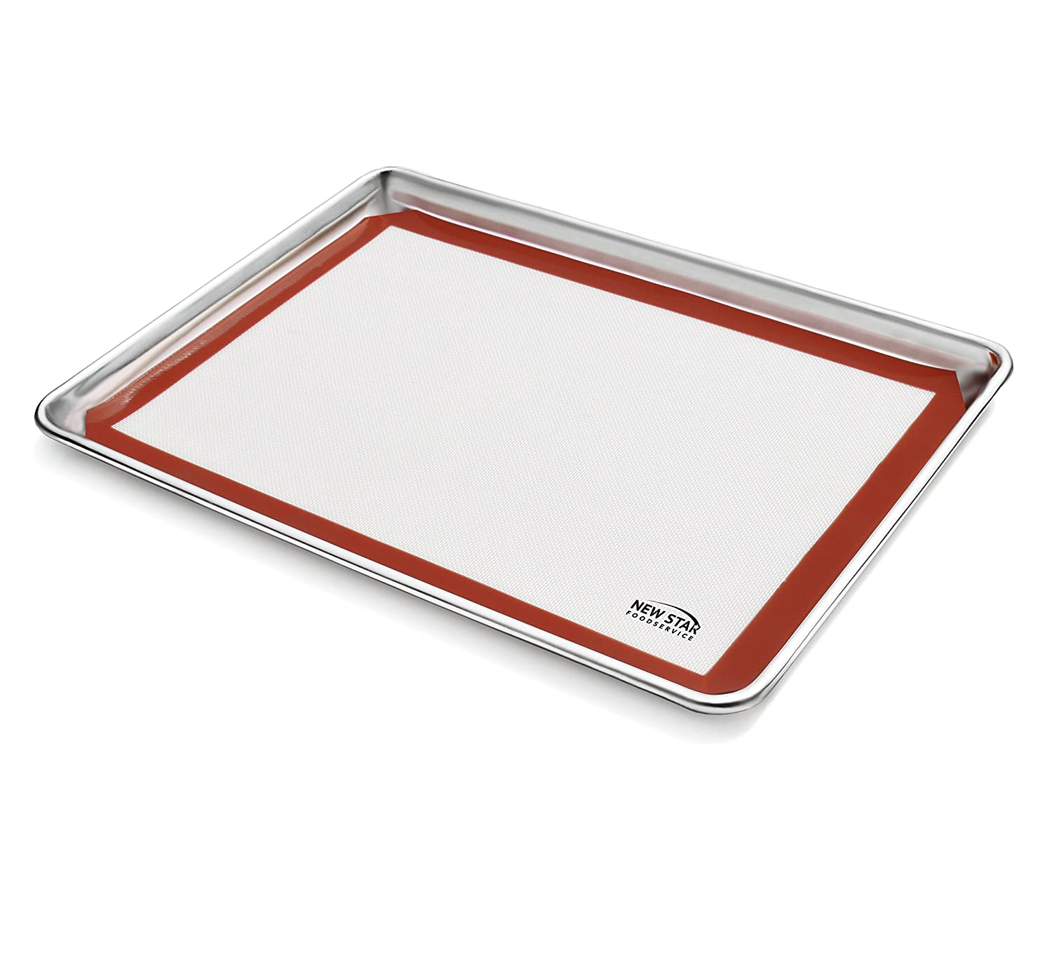 New Star Foodservice 38446 Commercial 18-Gauge Aluminum Sheet Pan and Silicone Baking Mat Set, 15 x 21 inch (Two-Thirds Size)