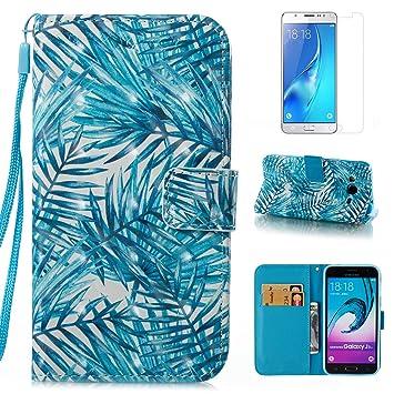 Funda para Samsung Galaxy J3 2016 J320 Cuero,OYIME [Palma Verde] Lujo Brillante 3D Drawing Tapa PU Piel Protector Glitter Folio Estuches con Acollador ...
