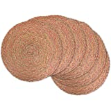 DII Round Woven, Indoor & Outdoor Braided Placemat or Charger, Set of 6, Braided Red