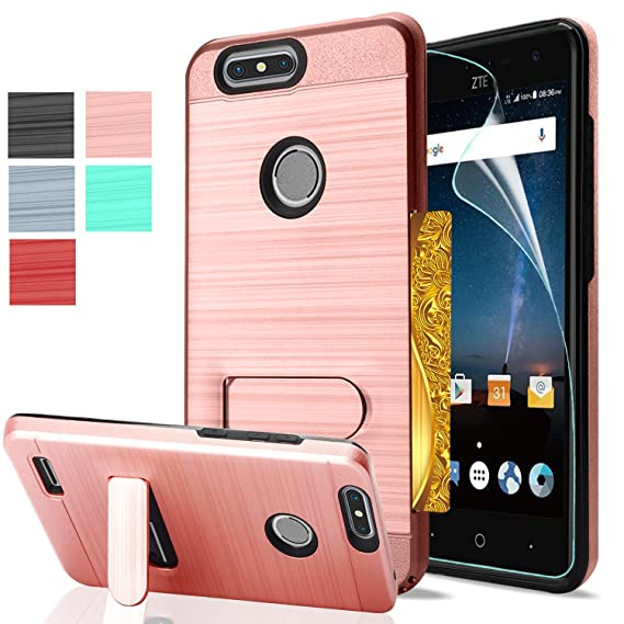 new style 4c97f 99a3d ZTE Z982 Case, ZTE Blade Z Max / Blade Zmax Pro 2 / Sequoia Case With  Screen Protector,AnoKe[Card Slots Wallet Holder]Kickstand Hybrid Shockproof  ...