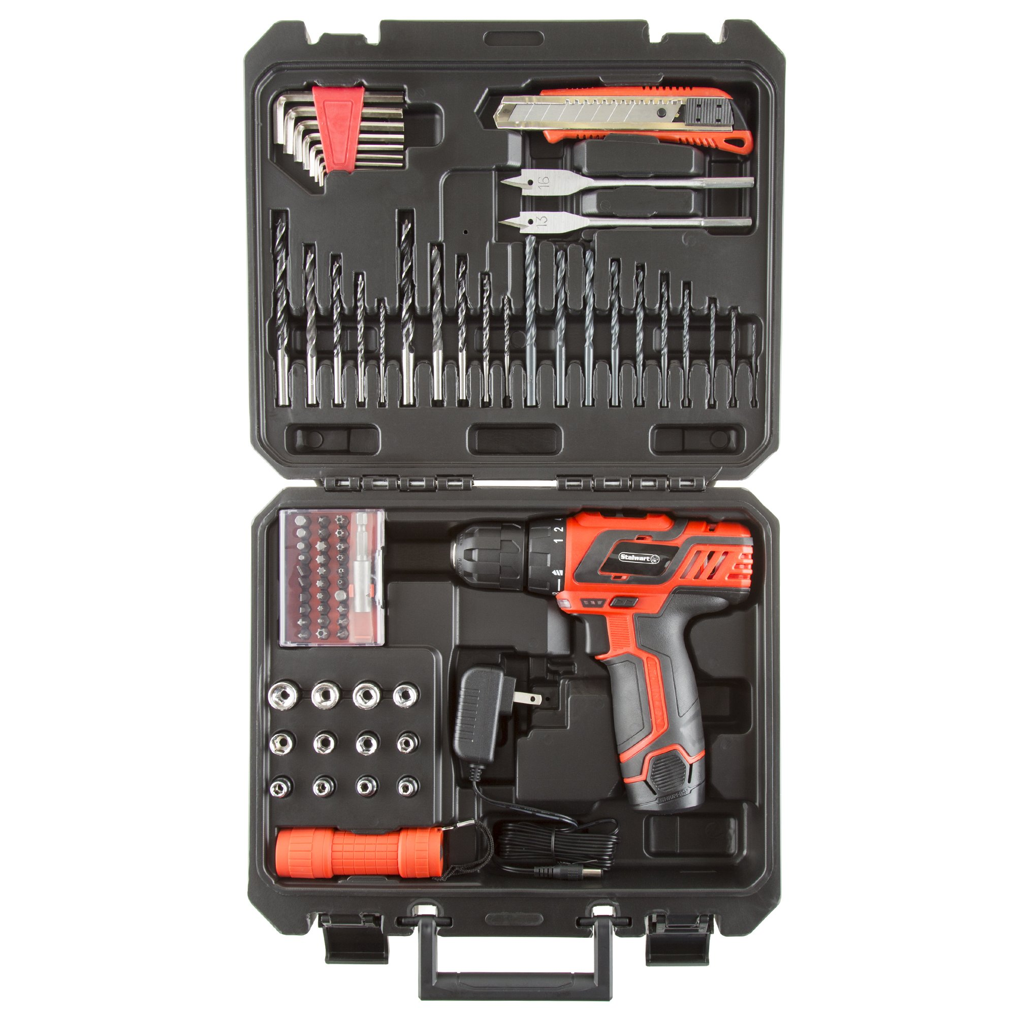 Stalwart 75-PT1003 12V Lithium Ion 75 Pc 2 Speed Drill & Accessory Tool Set, by Stalwart (Image #1)