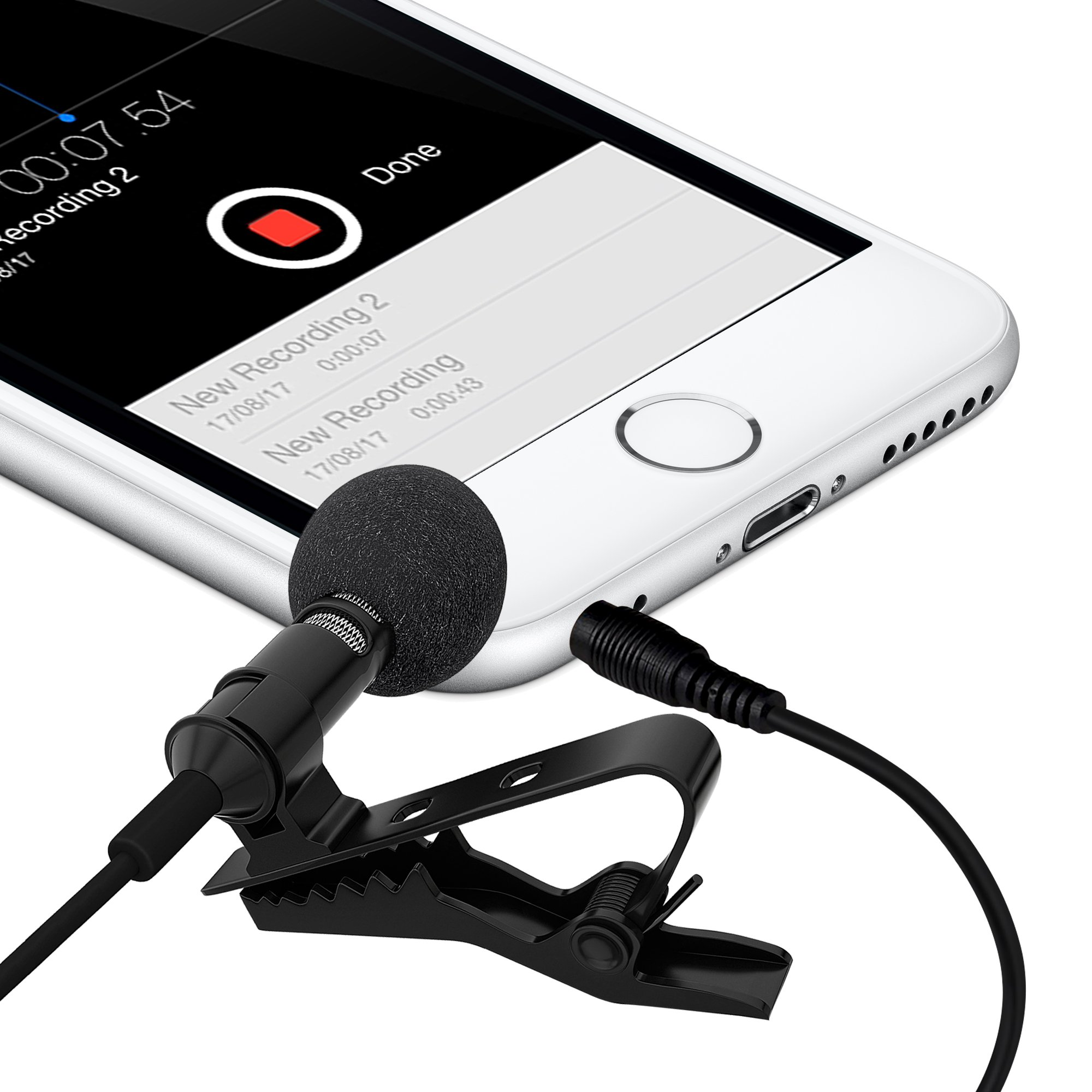 Ultimate Lavalier Microphone For Bloggers And Vloggers Lapel Mic Clip-on Omnidirectional Condenser for Iphone Ipad Samsung Android Windows Smartphones by Miracle Sound