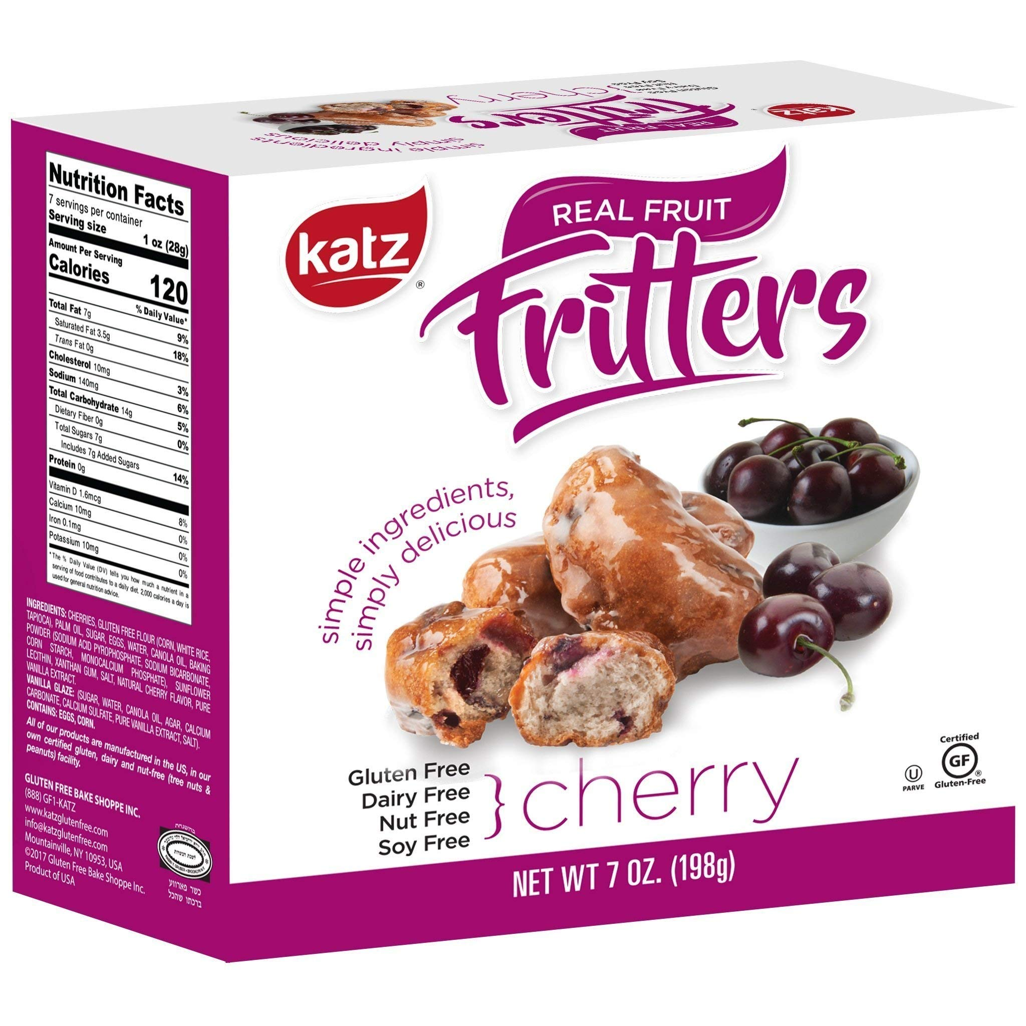 Katz Gluten Free Cherry Fritters | Dairy, Nut, Soy and Gluten Free | Kosher (3 Packs, 7 Ounce Each) by Katz Gluten Free