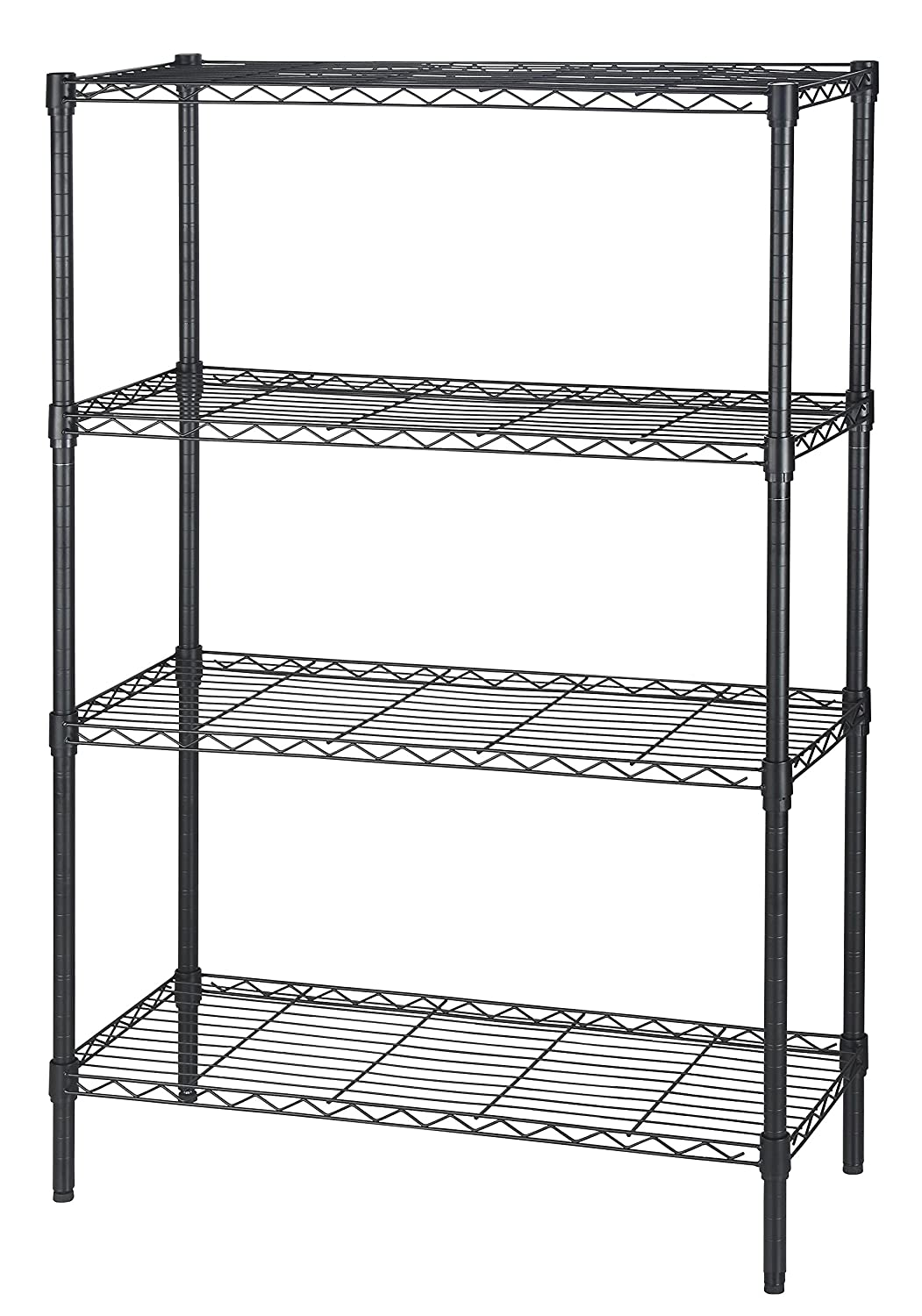 finnhomy 4tier thicken pole heavy duty wire shelving unit adjustable steel wire rack shelving 4 shelves steel storage rack with stable leveling feet black - Metal Shelving Unit