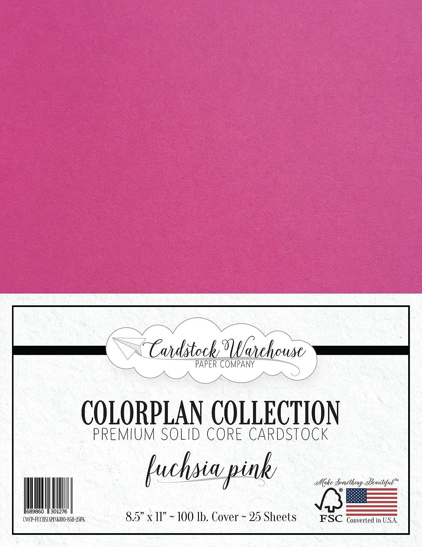 フクシアピンク厚紙 - 8.5 x 11インチ プレミアム100ポンド カバー - Cardstock Warehouse 25枚 B01MYNUAZY