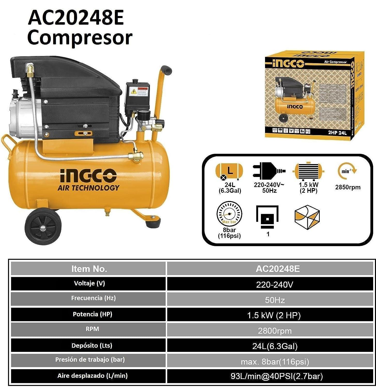 Ingco - Compresor Aire 2Hp 24Lts Ac20248E: Amazon.es: Bricolaje y herramientas