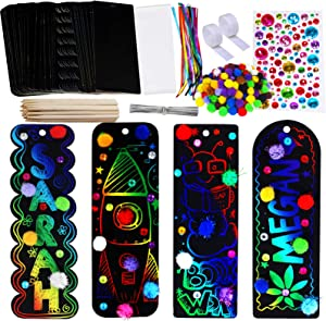 Winlyn 36 Sets 4 Styles Magic Scratch Rainbow Bookmarks Making Kit for Kids Students Party Favor Scratch Paper DIY Bookmarks Bulk with Scratching Tools Pom-poms Satin Ribbons for Classroom Activities