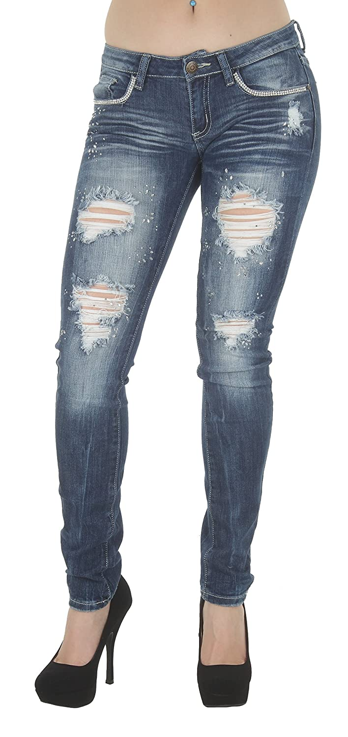 1A3883JS – Women's Juniors Low Rise Distressed Embellished Premium Skinny Jeans