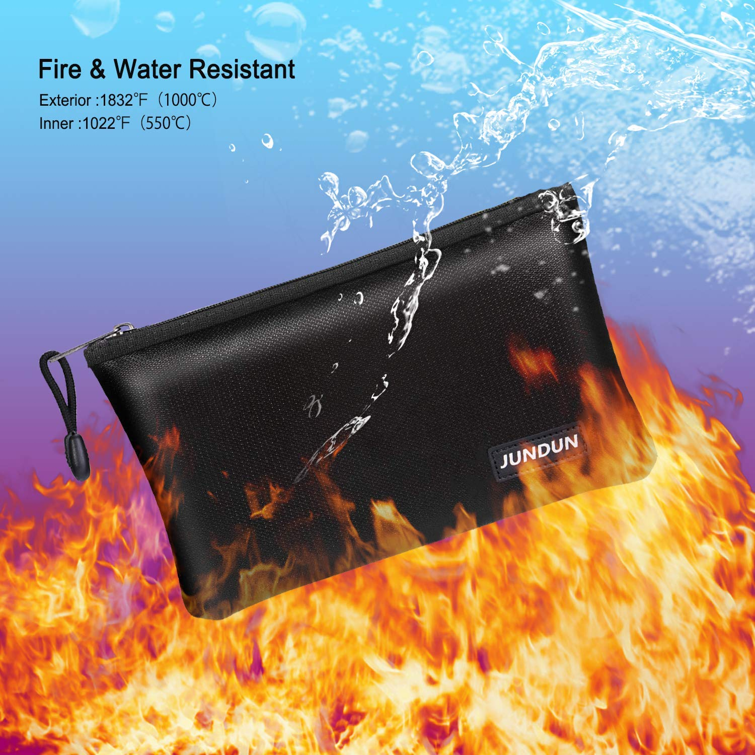 10.6x6.7 Fire and Water Resistant Cash Bag with Zipper Closure,Fireproof Safe Storage Pouch Envelope for A5 File Folder,Document Bank Deposit,Passport,Jewelry 10.6x6.7 Fire and Water Resistant Cash Bag with Zipper Closure JUNDUN Fireproof Money Bag