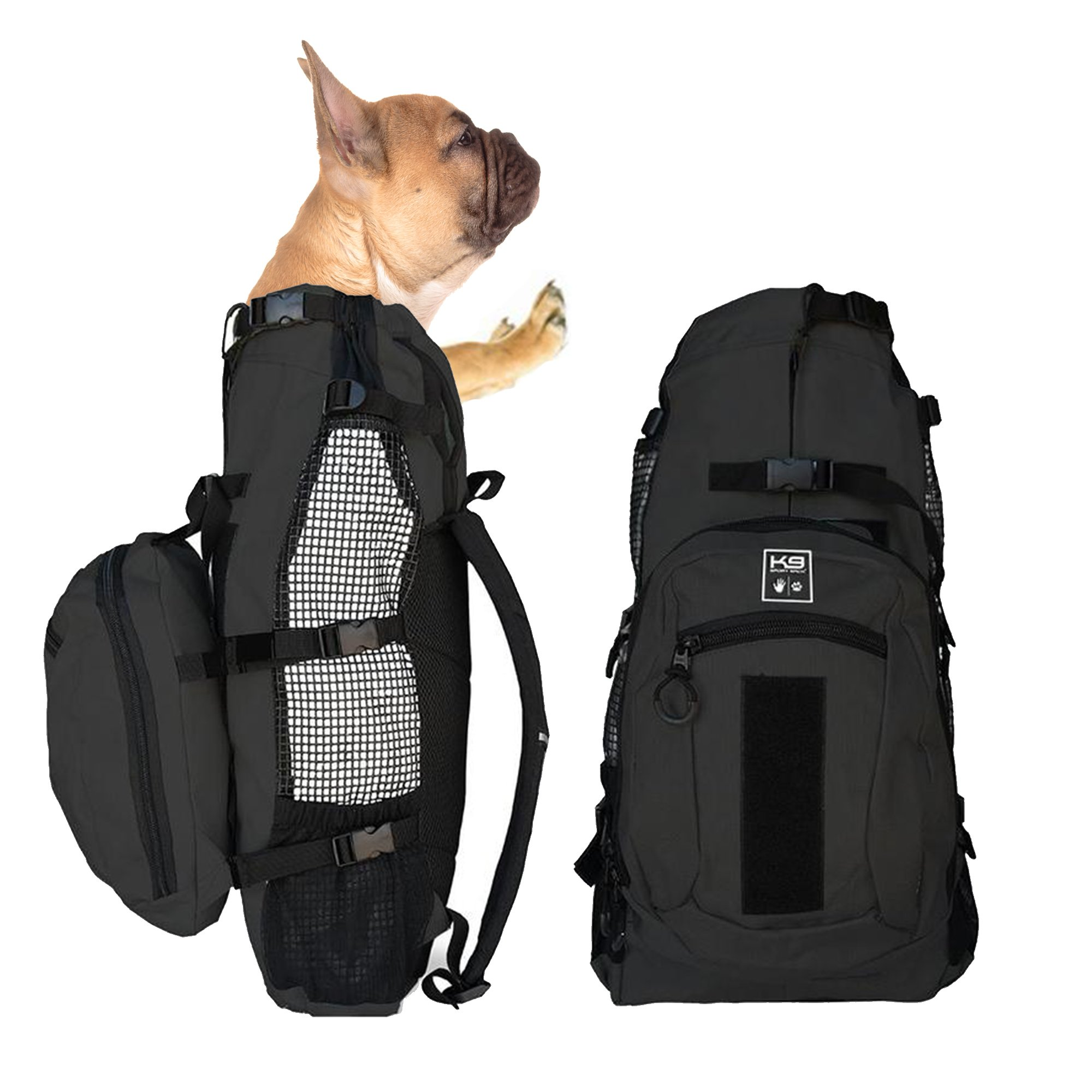 K9 Sport Sack AIR PLUS | Dog Carrier Backpack For Small and Medium Pets | Front Facing Adjustable Pack With Storage Bag | Fully Ventilated | Veterinarian Approved (Medium, Jet Black)