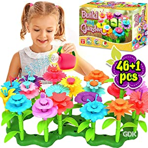 GoodyKing Flower Garden Building Toys for Girls - STEM Toy Gardening Pretend Gift for Kids - Stacking Game for Toddlers playset - Educational Activity for Preschool Children Age 3 4 5 6 7 Year Old
