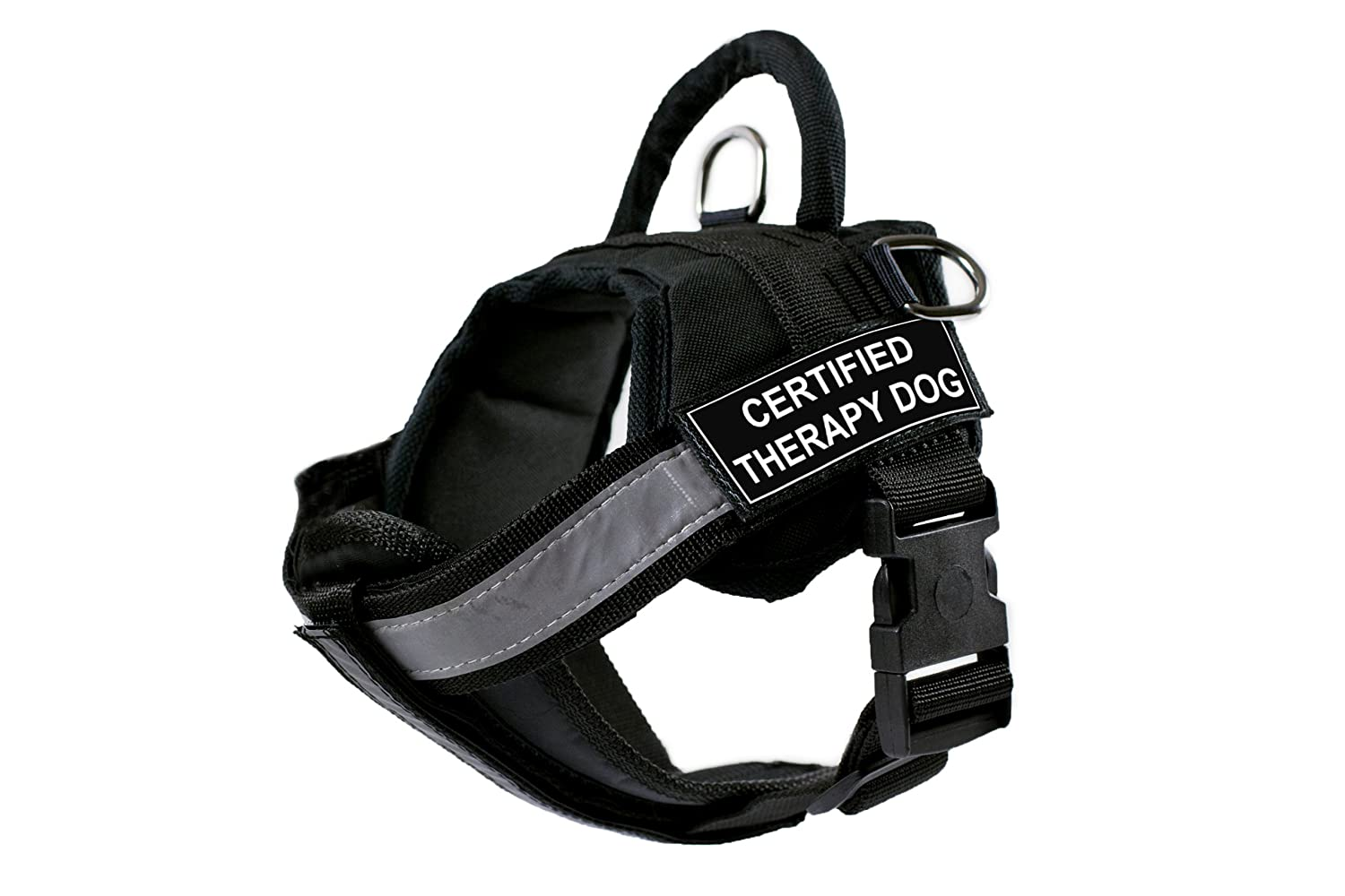 DT Works Harness with Padded Reflective Chest Straps, Certified Therapy Dog, Black, Small, Fits Girth Size  25-Inch to 34-Inch