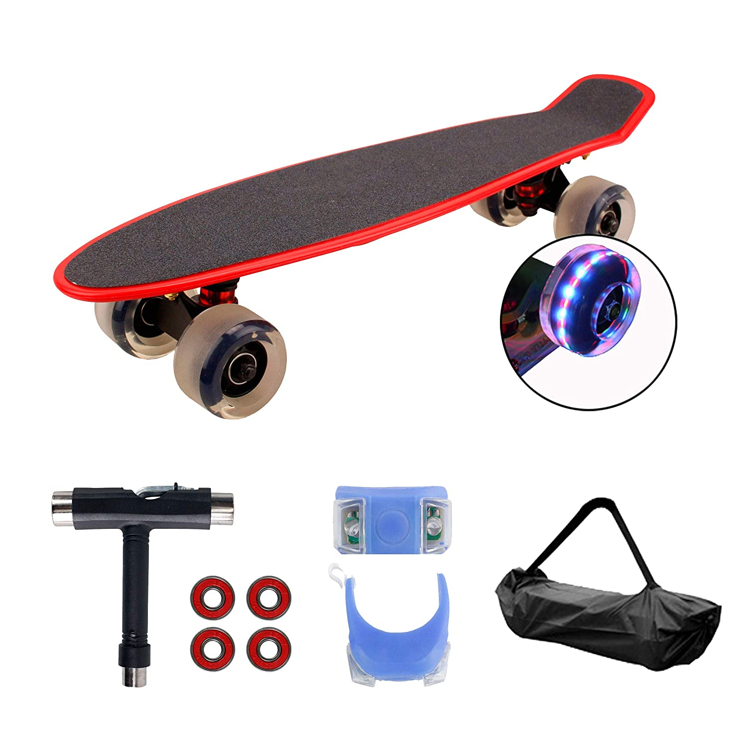 Geelife 22 Complete Mini Cruiser Skateboard for Beginners Youths Teens Girls Boys with LED Wheels