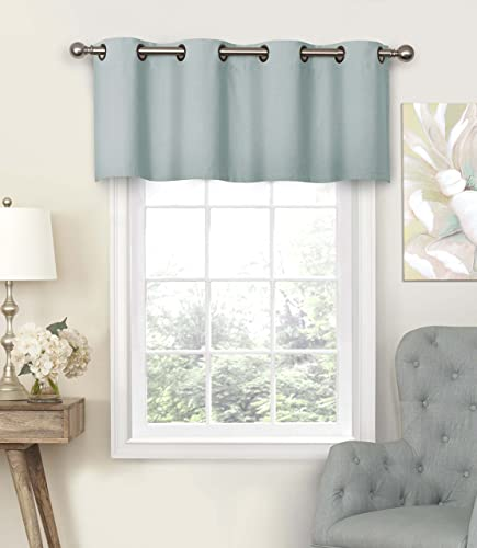 Eclipse Nadya Solid Grommet Top Curtains for-Kitchen and Living Room, 52 x 18 , Smokey Blue