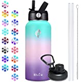 Elvira 32oz Vacuum Insulated Stainless Steel Water Bottle with Straw & Spout Lids, Double Wall Sweat-Proof BPA Free to…