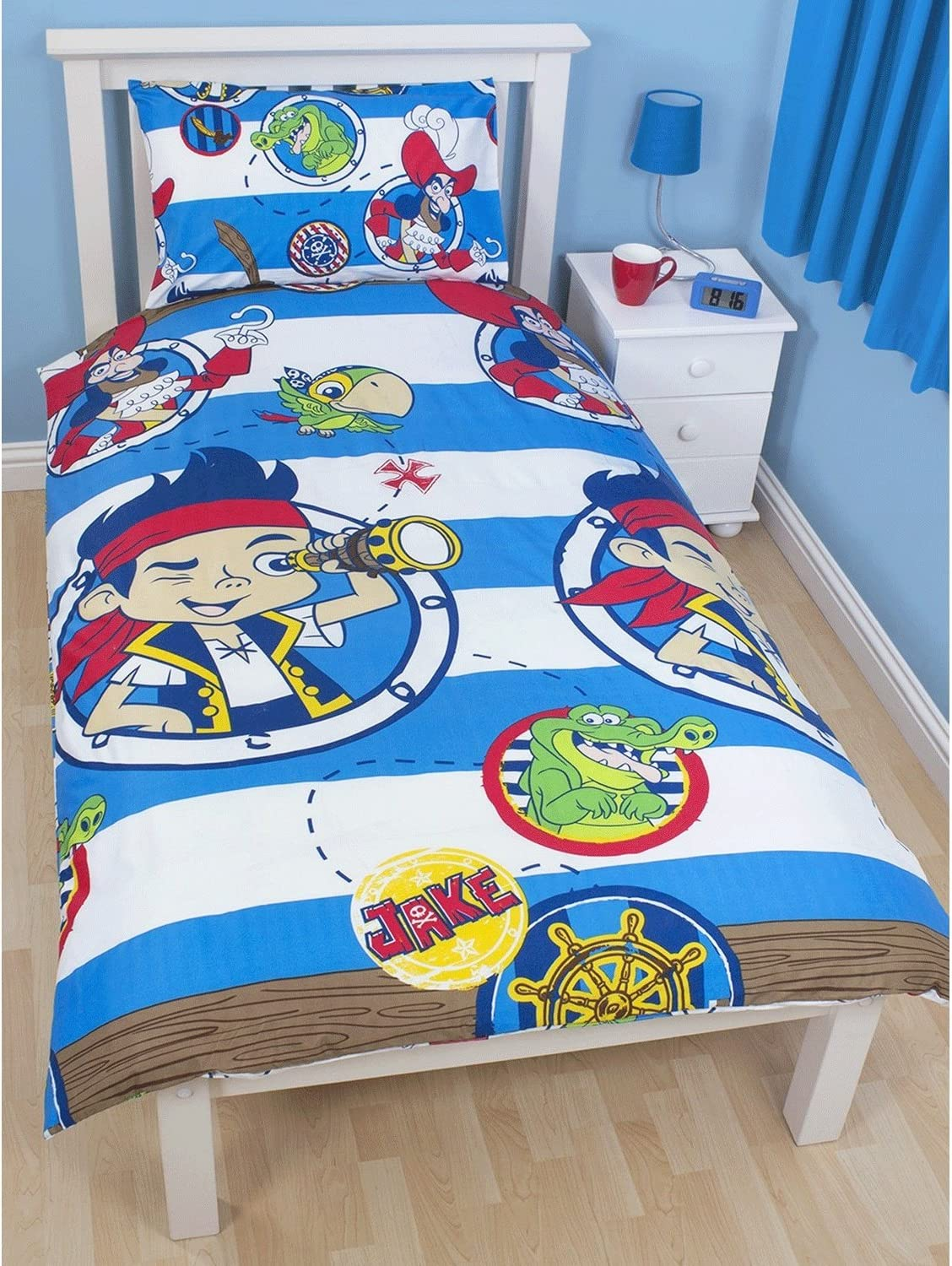 Single Disney Childrens//Kids Jake And The Never Land Pirates Doubloons Duvet Cover Bedding Set Single /& Double Blue//White